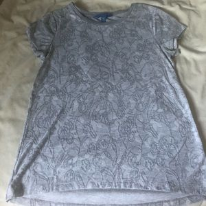 Grey Flower Print Simply Vera by Vera Wang Shirt